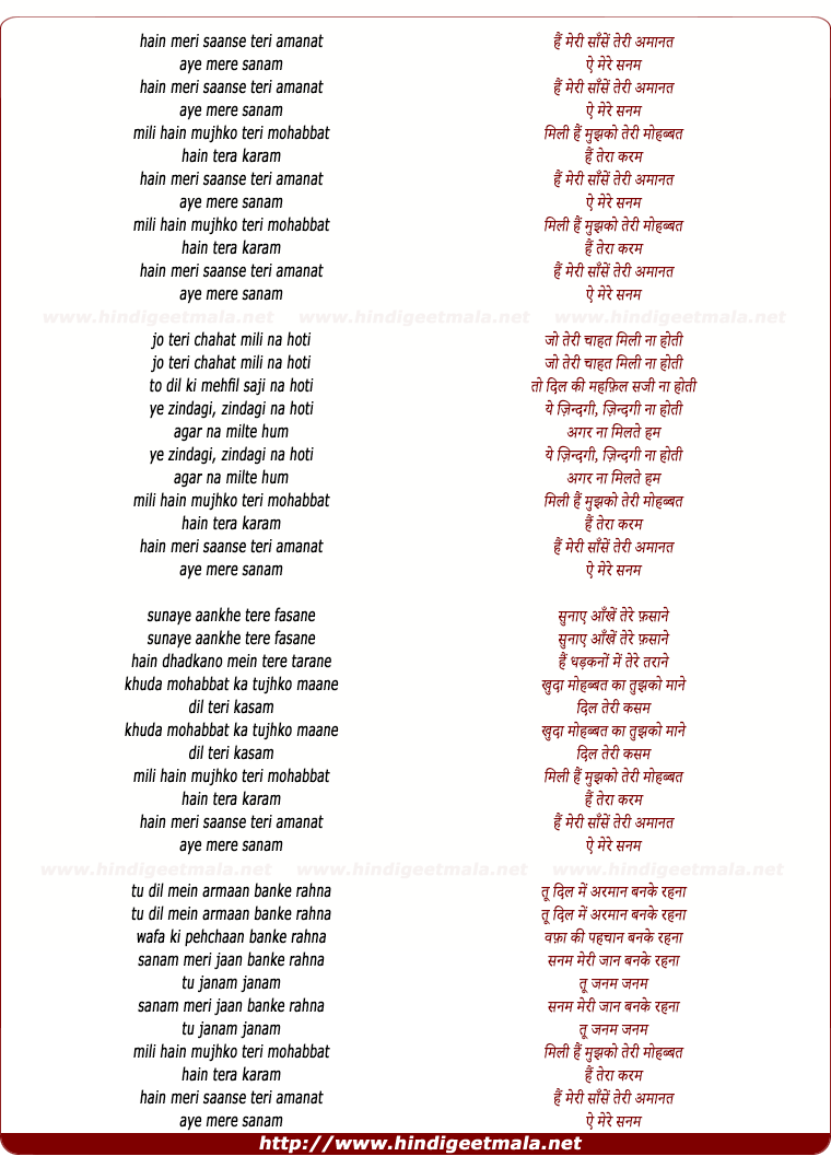 lyrics of song Hain Meri Saansein Teri Amanat