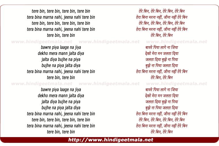 lyrics of song Tere Bin