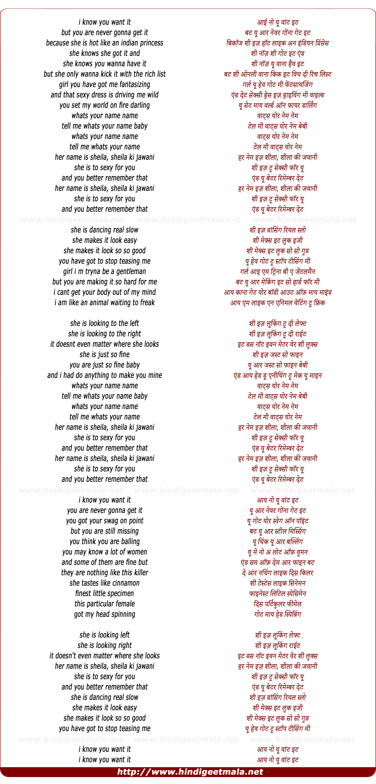 lyrics of song I Know You Want It