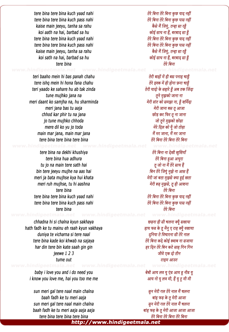 lyrics of song Tere Bina (Anoop Ghai)