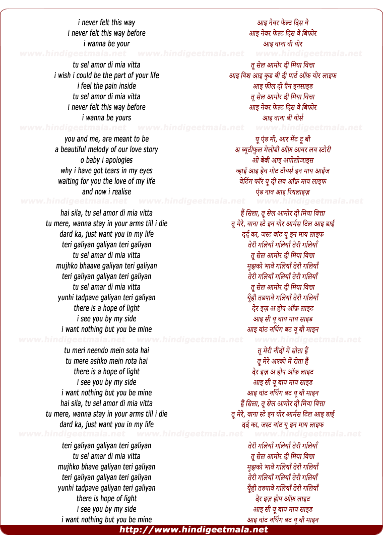 lyrics of song You And Me (Teri Galliyan)