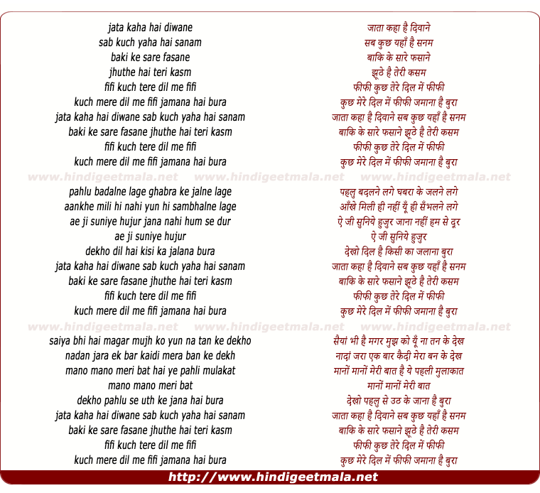 lyrics of song Jaata Kahan Hai Deewane