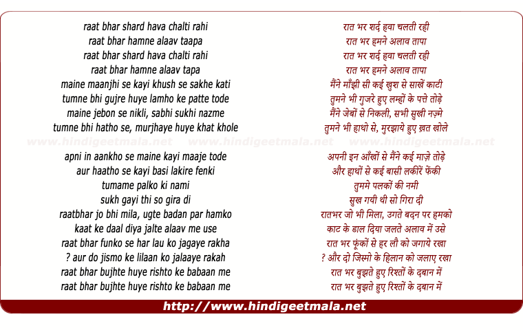 lyrics of song Raat Bhar Sard Hawa
