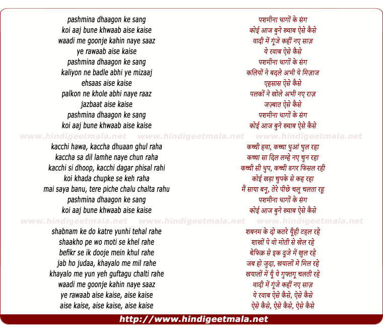 lyrics of song Pashmina