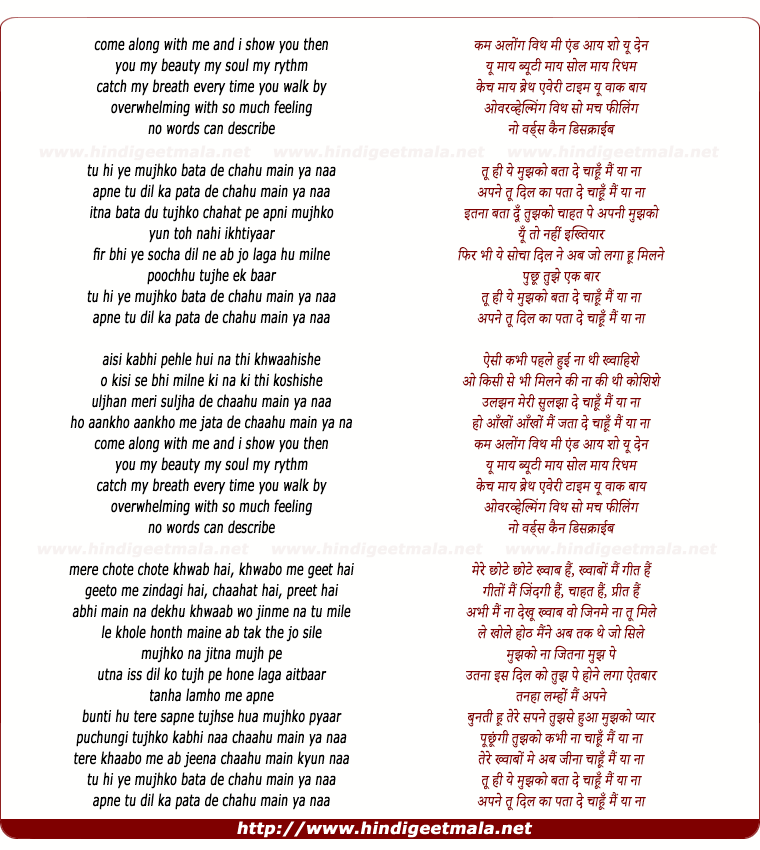 lyrics of song Chahu Mein Ya Naa