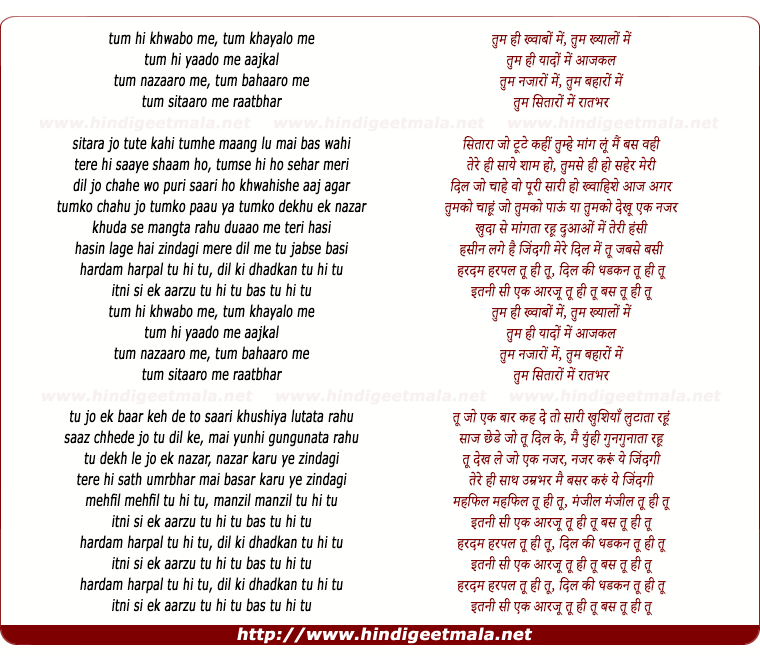 lyrics of song Tu Hi Tu (Magnesh)