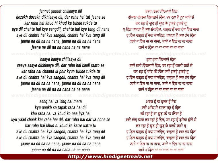 lyrics of song Aye Dil