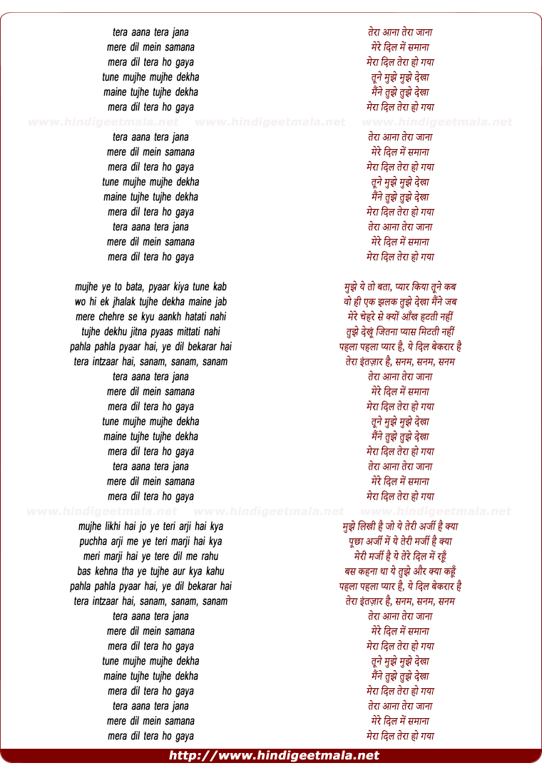 lyrics of song Tera Aana Tera Jaana