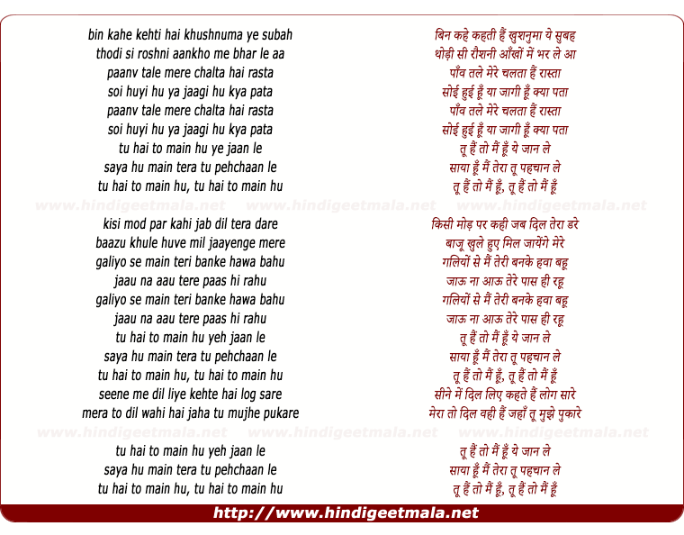 lyrics of song Tu Hai To Main Hun