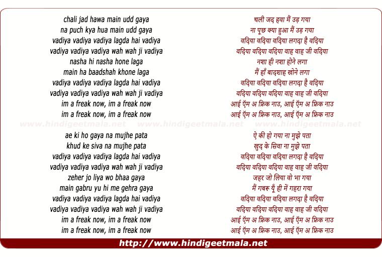 lyrics of song Vadiya Lagda Hai