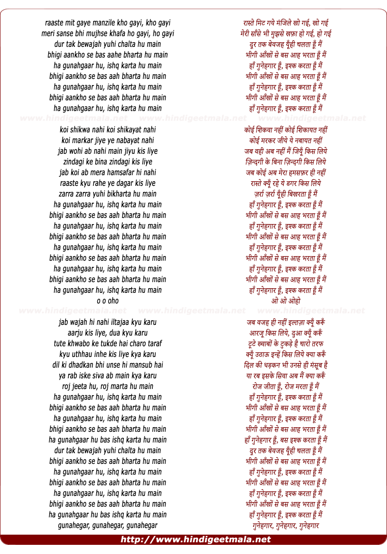 lyrics of song Haan Gunahgaar Hun Ishq Karta Hun Main