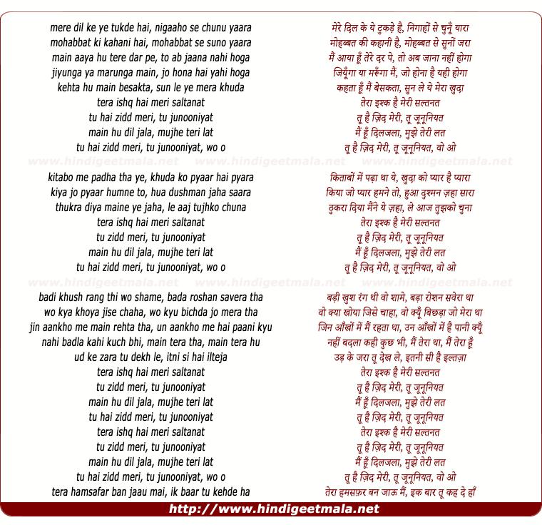 lyrics of song Tu Junooniyat