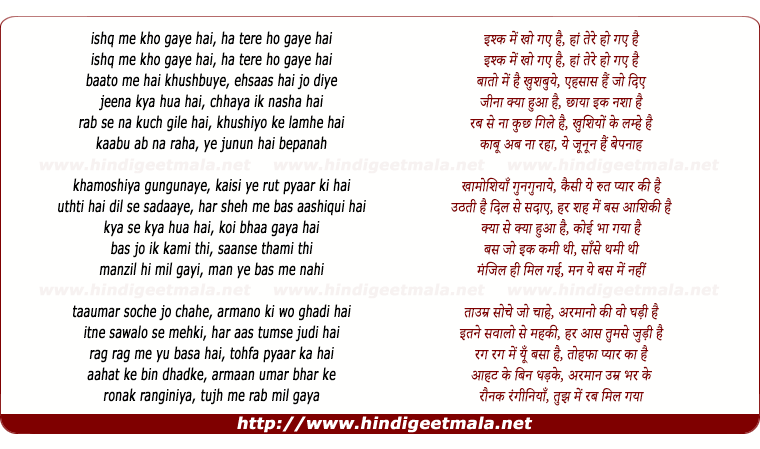 lyrics of song Ishq Me Kho Gaye Hai, Ha Tere Ho Gaye Hai
