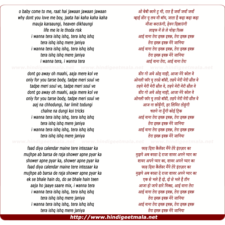 lyrics of song I Wanna Tera Ishq