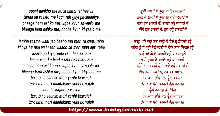 lyrics of song Bheege Hum
