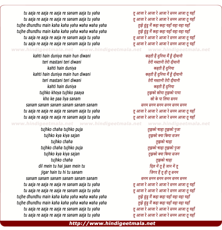lyrics of song Tu Aaja Re Raaja