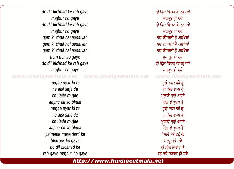 lyrics of song Do Dil Bichhad Ke Rah Gaye (Male Version)